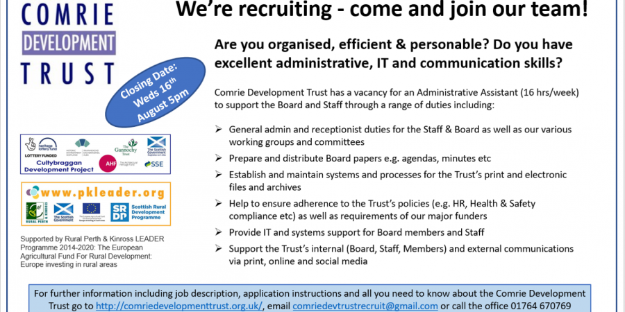 We're recruiting – Part Time Admin Assistant (16 hrs/wk)